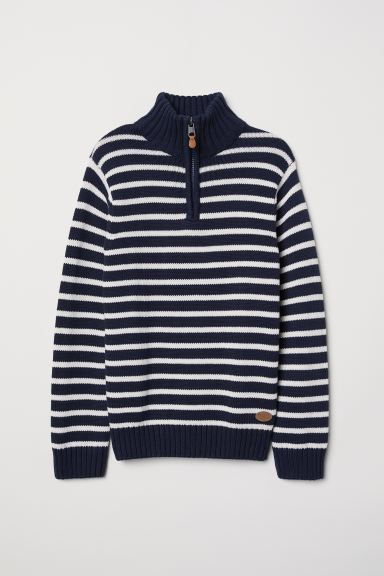Knitted jumper with a collar - Dark blue/Striped - Kids | H&M GB