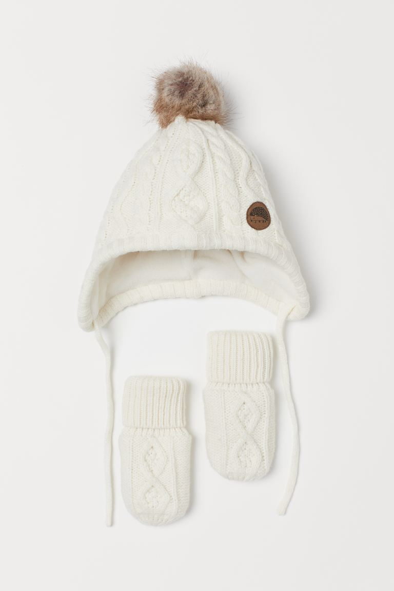 Hat and mittens - Natural white -  | H&M GB
