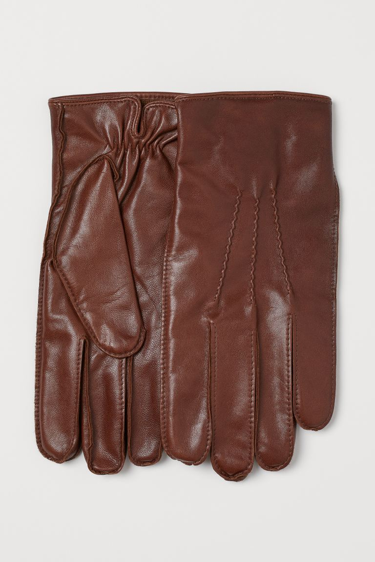 Leather gloves - Dark brown - Men | H&M GB
