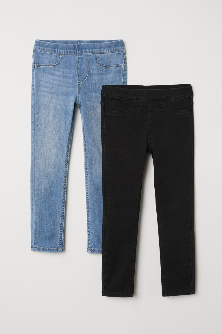 2-pack denim leggings - Black/Light denim blue - Kids | H&M GB