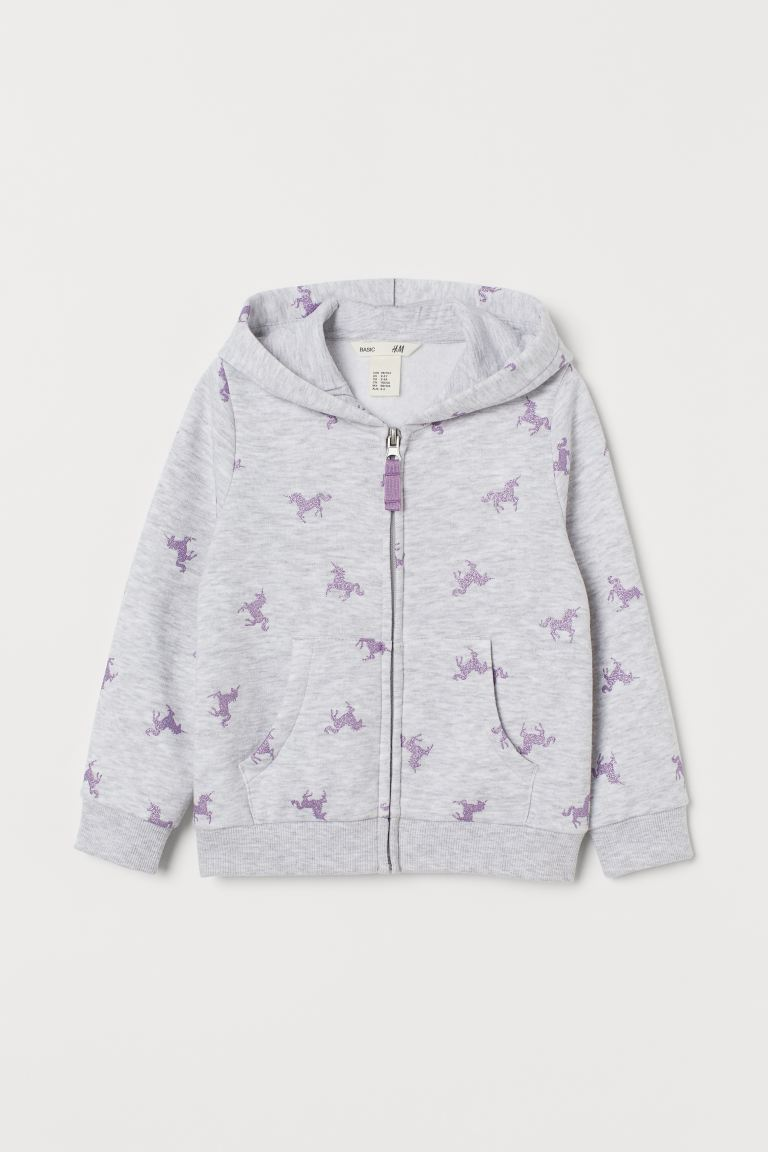 Hooded jacket - Light grey marl/Unicorns - Kids | H&M GB