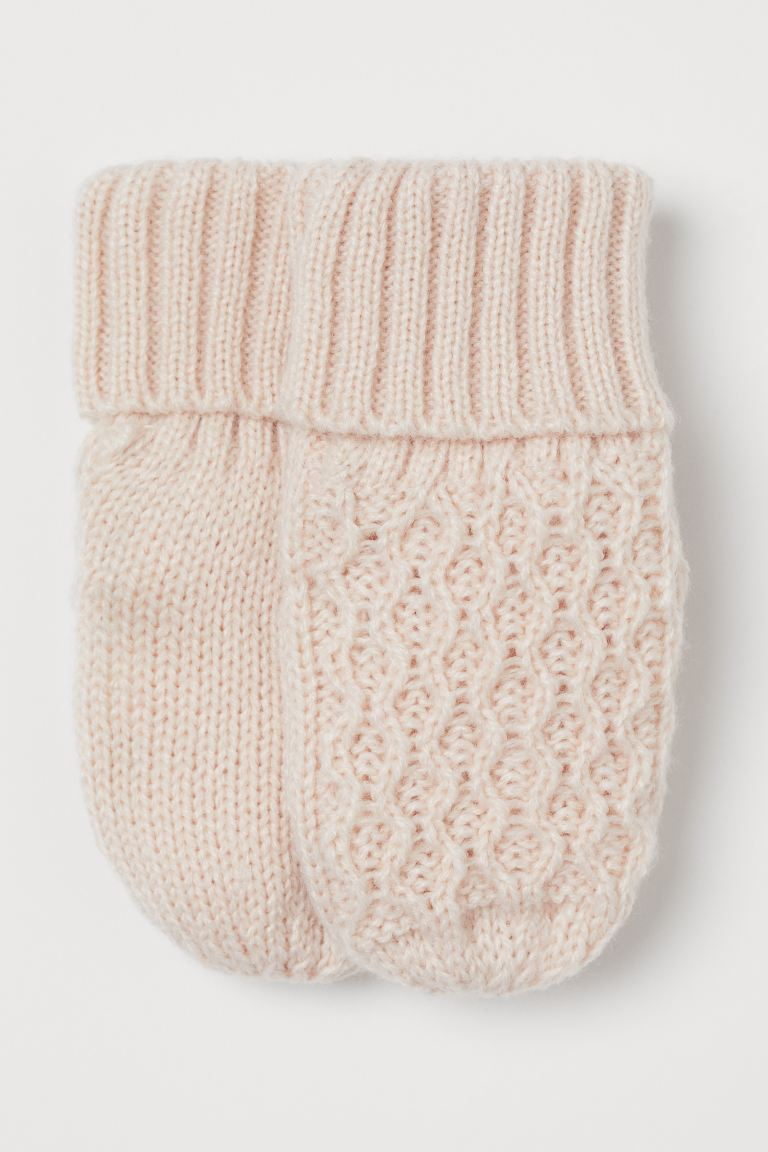 Knitted mittens - Powder pink - Kids | H&M GB
