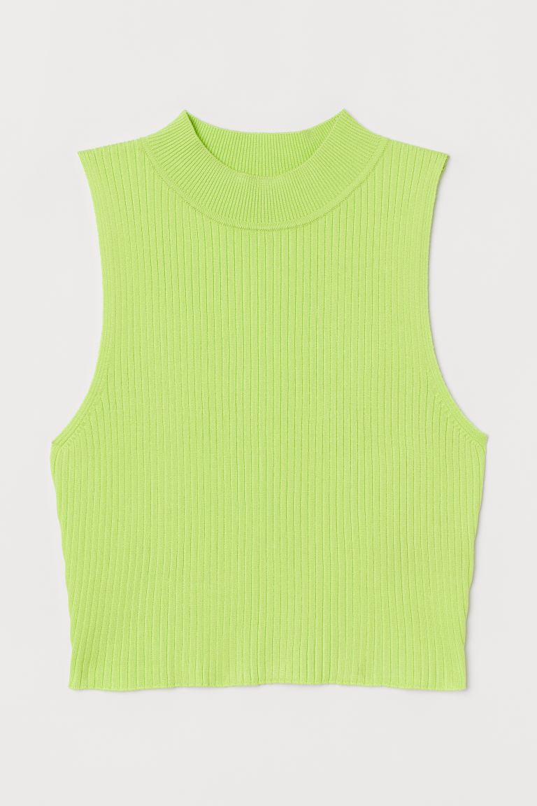 Ribbed top - Neon yellow - Ladies | H&M GB