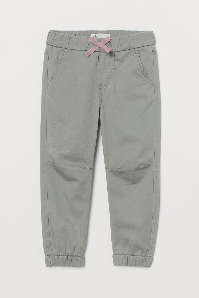 Pull-on trousers - Light khaki green - Kids | H&M GB