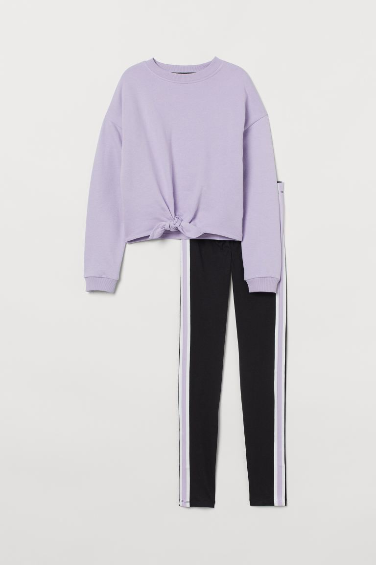 2-piece cotton set - Light purple/Black - Kids | H&M GB