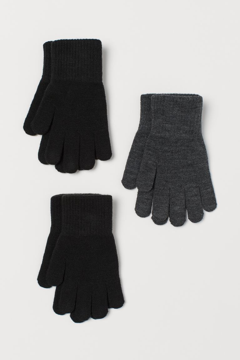3-pack gloves - Black/Dark grey marl - Kids | H&M GB
