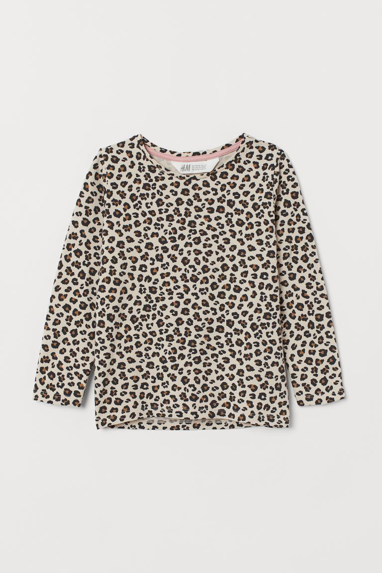 Printed cotton top - Beige/Leopard print - Kids | H&M GB