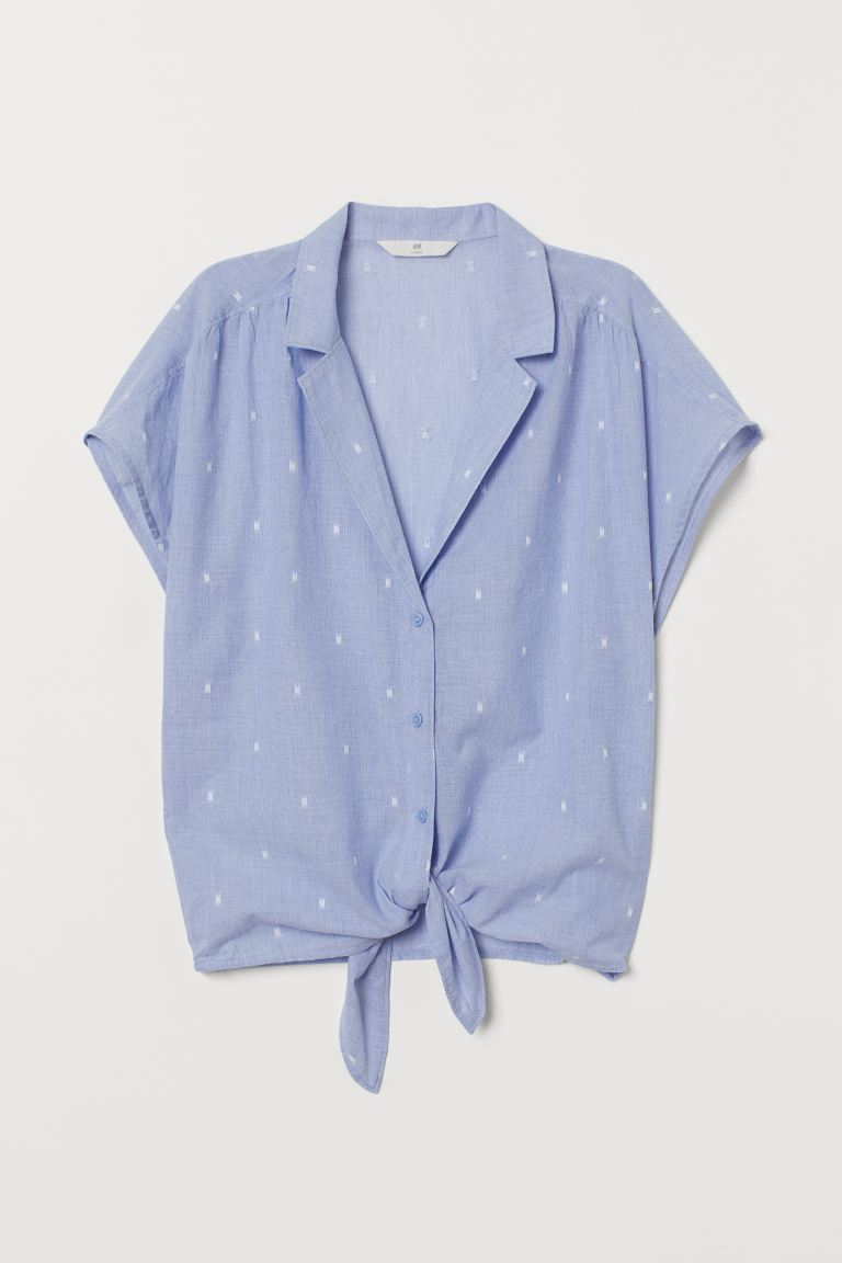 Tie-hem blouse - Light blue/Spotted - Ladies | H&M GB