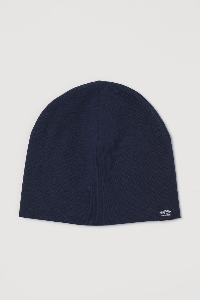 Cotton jersey hat - Dark blue - Kids | H&M GB