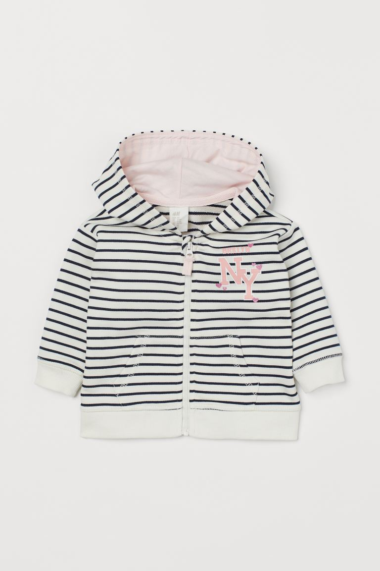 Hooded jacket - Natural white/Striped - Kids | H&M GB