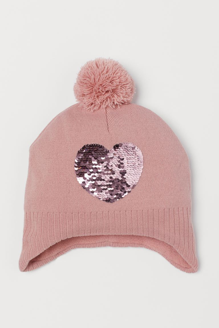 Hat with sequins - Powder pink/Heart - Kids | H&M GB