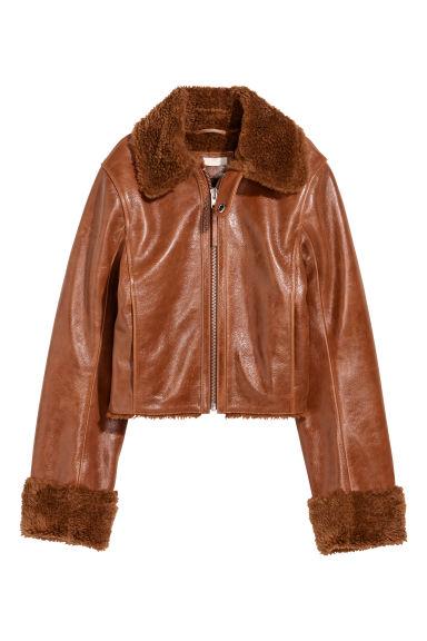 veste en cuir de style motard camel femme h m fr. Black Bedroom Furniture Sets. Home Design Ideas