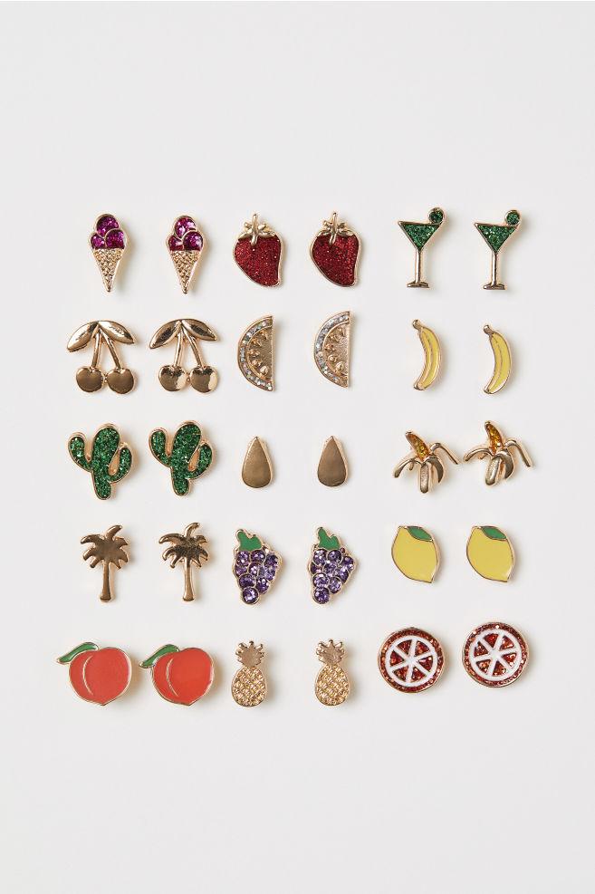 15 paar oorstekers - Goudkleurig/fruit - DAMES | H&M NL 1