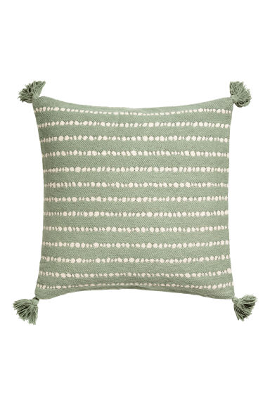 Tasselled cushion cover - Dusky green/White spotted - Home All   H&M GB 1