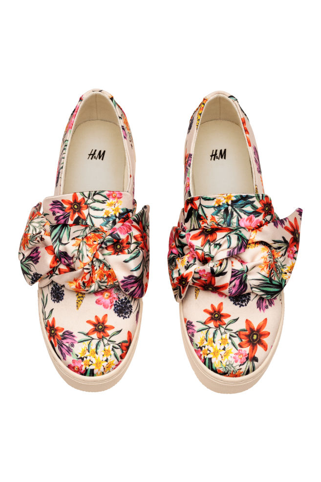 Slip-on trainers - Light beige/Floral - Ladies | H&M IN 2