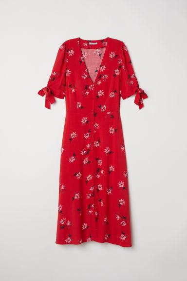 robe de longueur genou rouge fleuri femme h m fr. Black Bedroom Furniture Sets. Home Design Ideas
