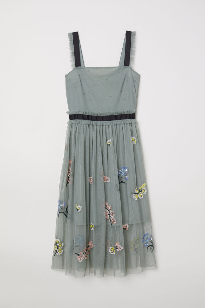 Tulle dress with embroidery - Dark dusky green - Ladies | H&M GB 1