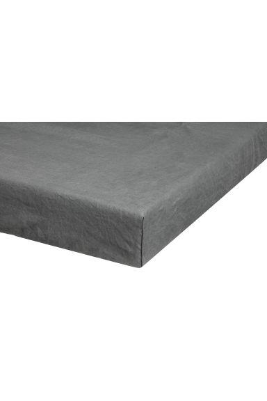 drap housse en lin lav gris h m fr. Black Bedroom Furniture Sets. Home Design Ideas