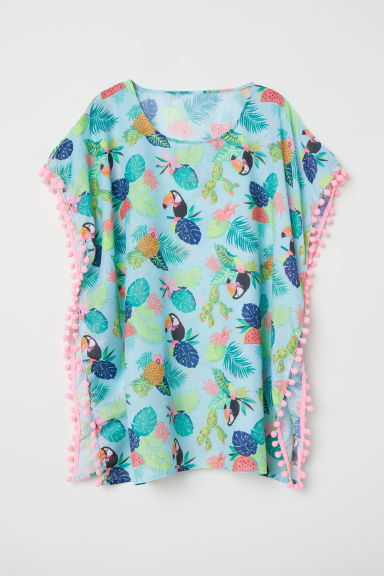 Pompom-trimmed poncho - Light turquoise - Kids | H&M CN