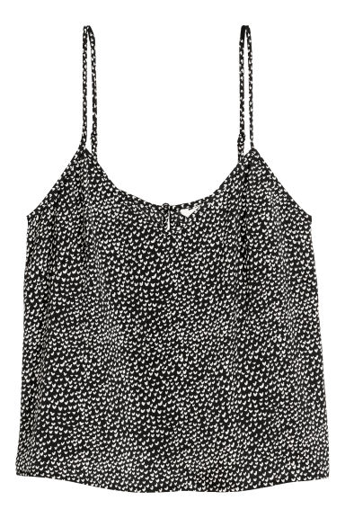 V-neck top - Black/White patterned -  | H&M GB