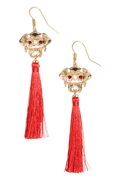 Tasselled earrings - Bright red/Gold-coloured - Ladies | H&M CN
