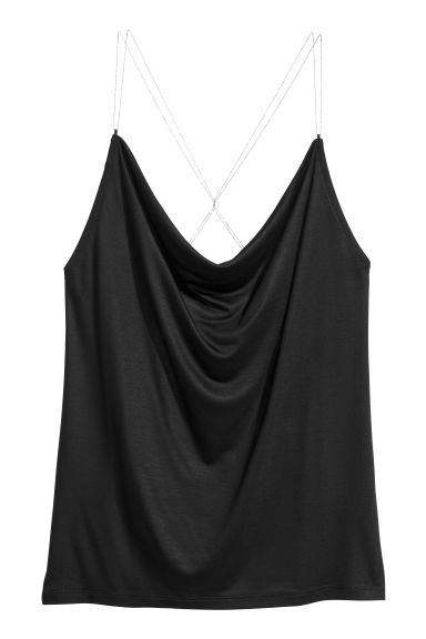 Draped top - Black - Ladies | H&M CN