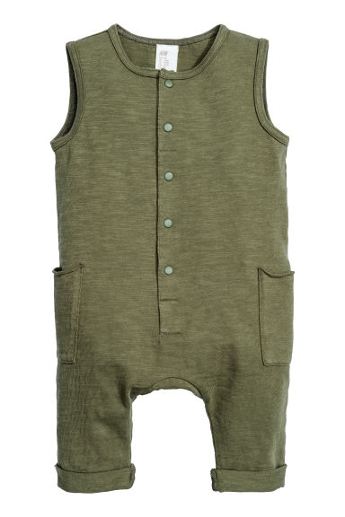 Sleeveless romper suit - Khaki green -  | H&M CN