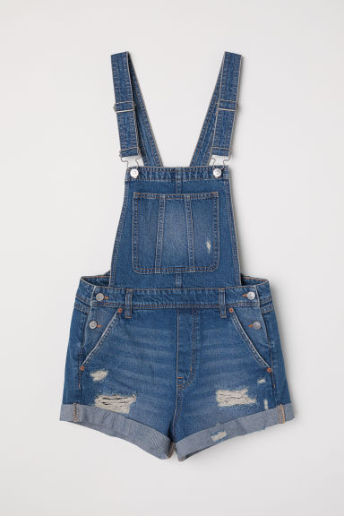 Denim dungaree shorts Model