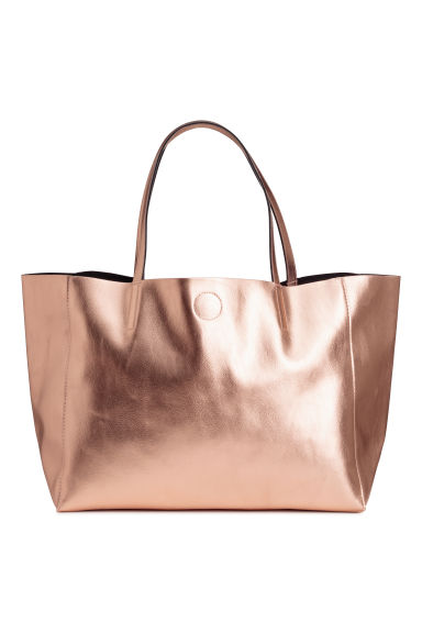 Shimmering metallic shopper - Rose gold-coloured - Ladies | H&M