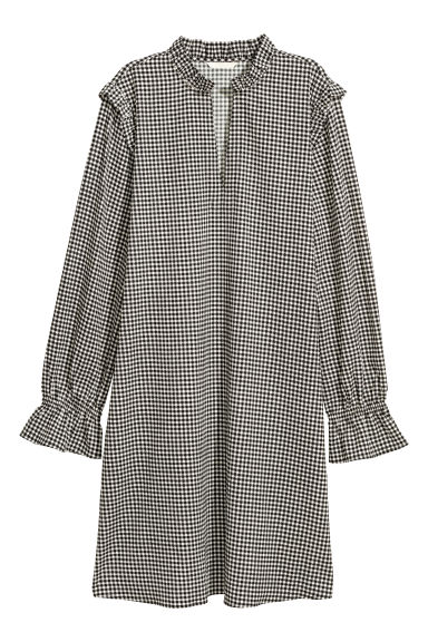 Patterned, frilled dress - Dogtooth-patterned - Ladies | H&M