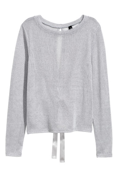 Fine-knit jumper - Grey/Glittery - Ladies | H&M