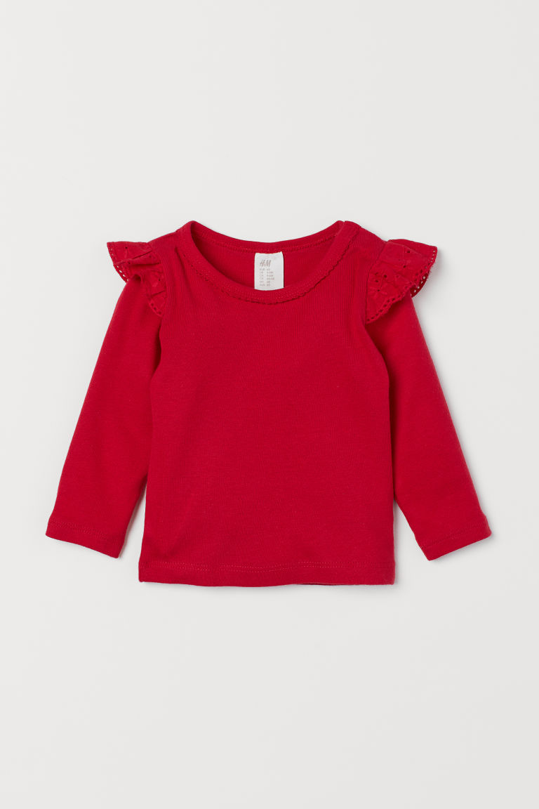 Jersey top with flounces - Red - Kids | H&M GB