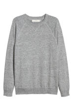 Fine-knit cotton jumper - Grey marl - Men | H&M IE 2