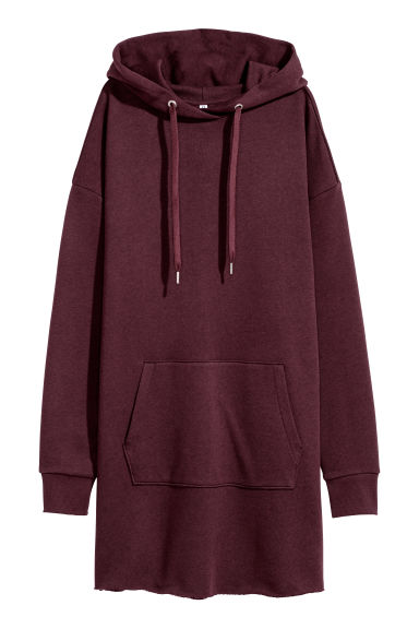 Hooded sweatshirt dress - Burgundy -  | H&M