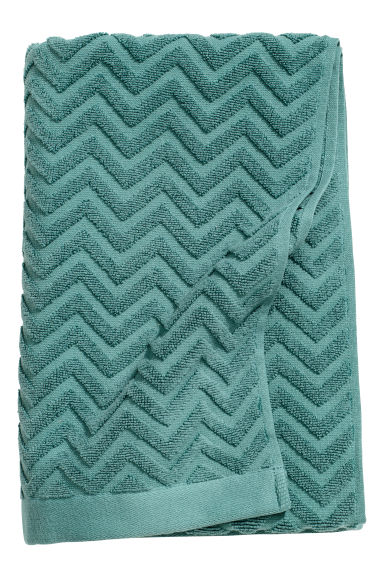 Jacquard-patterned bath towel - Dark turquoise -  | H&M GB