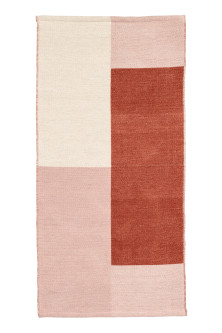 Block-patterned wool-blend rug