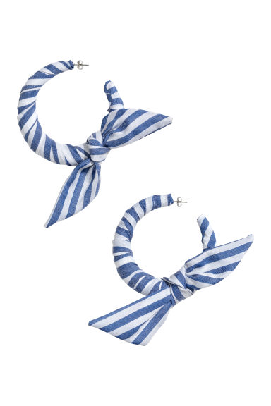 Large earrings - White/Blue striped - Ladies | H&M CN