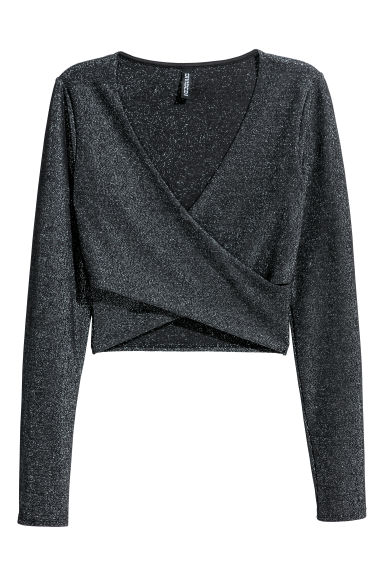 Cropped wrapover top - Black/Glittery - Ladies | H&M