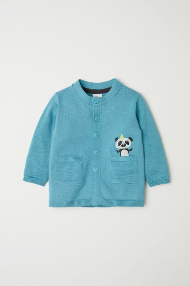 Cardigan with pockets - Turquoise/Panda - Kids | H&M CN