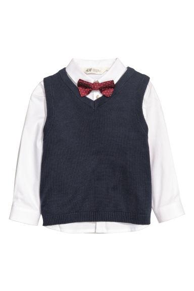 Shirt and Sweater Vest - Dark blue/white -   H&M CA