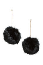 Pompom earrings - Gold-coloured/Black - Ladies | H&M IE 1
