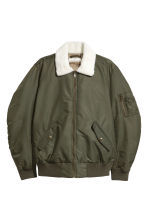 Bomber jacket with pile collar - Khaki green - Men | H&M GB 2