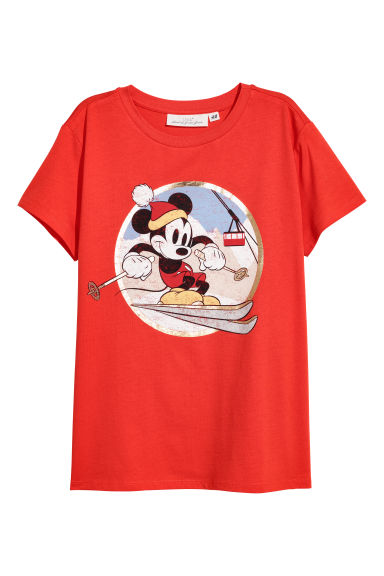 Printed T-shirt - Red/Mickey Mouse - Ladies | H&M