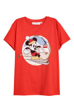 T-shirt avec impression - Rouge/Mickey - FEMME | H&M BE 2