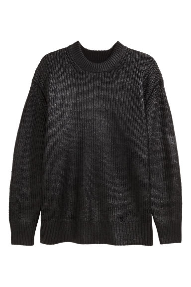 Pullover a coste con coating - Nero/coating - UOMO | H&M IT