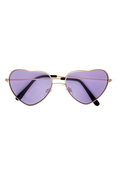 Heart-shaped sunglasses - Gold-coloured/Purple -  | H&M