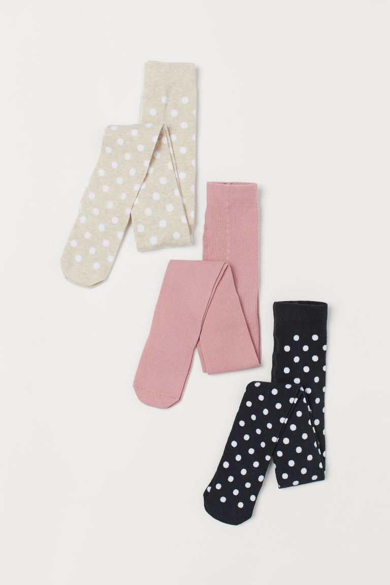 3-pack tights - Light beige/Spotted - Kids   H&M GB