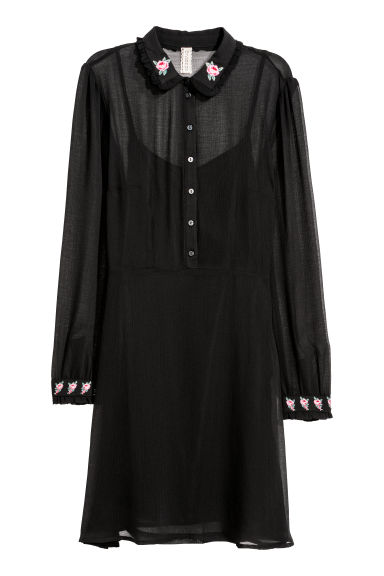 Chiffon dress - Black/Flowers -  | H&M CN