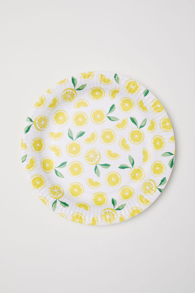 Assiettes en carton, lot de 10 - Blanc/citrons -  | H&M FR