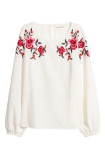 Embroidered blouse - White - Ladies | H&M CN 2